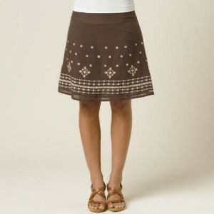 PRANA women Brown Embroidered A-Line Skirt size 2